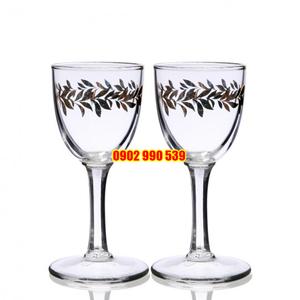 Cặp Ly Thủy Tinh Uống Rượu Vẽ Vàng