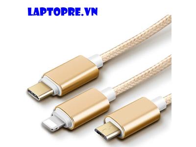 Cáp sạc 3 đầu Micro Phone – USB type C dây dù chắc chắn (gold)