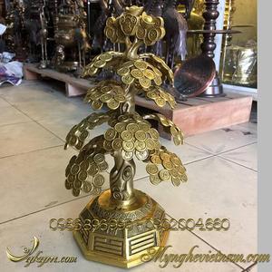 Cây tiền chiêu tài lộc bằng đồng, cây phong thủy tiền vàng