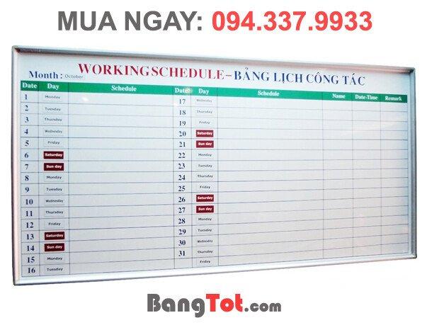 Bảng Lịch Công Tác (chất liệu bảng từ)