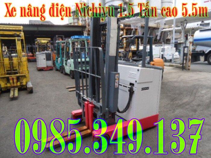 Xe nâng điện cũ Nichiyu 1.5 tấn cao 5.5m đứng lái