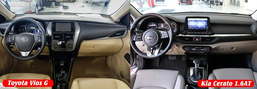 Chọn Toyota Vios G hay Kia Cerato bản 1.6 cao cấp