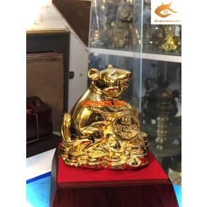 Chuột ngồi tiền dát vàng 24k quà tặng cho người tuổi tý