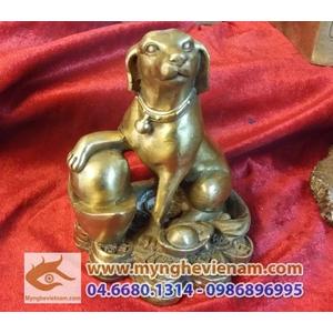 Tượng Chó ngồi tiền bằng đồng cao 12cm