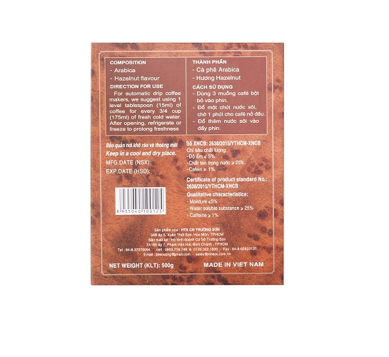 Cà phê con sóc bột 100% Arabica ( 500gr) - màu Nâu