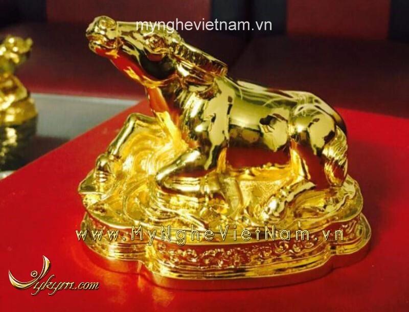 Tượng trâu mạ vàng dài 10cm 15cm bằng đồng nguyên chất