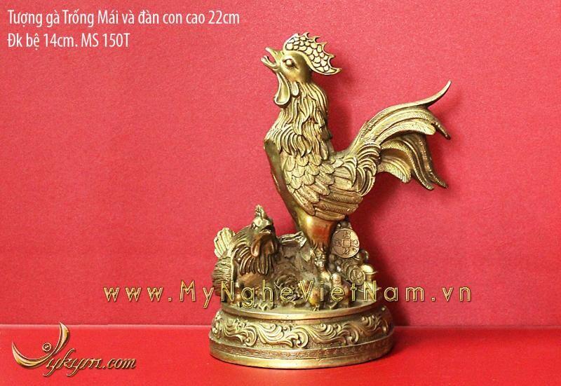 Tượng gà trống và đàn gà gia đình bằng đồng 22cm