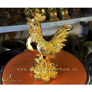 tượng gà đồng mạ vàng cao 20cm