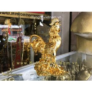 Tượng gà đồng đứng hoa cúc đồng tiền cao 22cm mạ vàng cao cấp