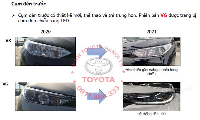 Cụm đèn trước xe Toyota Vios 2021