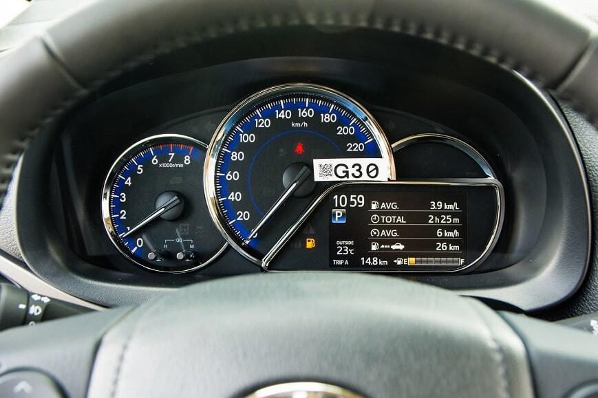 Cụm đồng hồ công tơ mét trên Vios phiên bản G CVT
