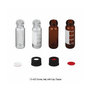 Vial 4ml có chia vạch, nắp vặn nhựa PP màu đen có septa