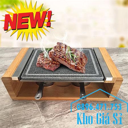 Bộ đá nướng thịt Hàn Quốc BBQ hình chữ nhật có giá đỡ bằng gỗ giữ nóng bằng cồn
