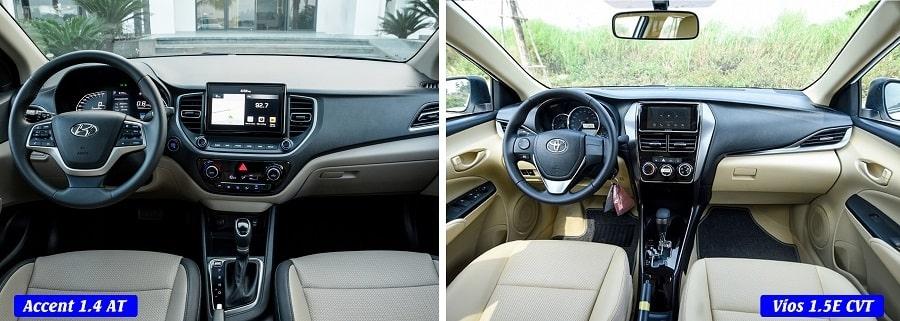 Đánh giá nội thất Vios E bản tự động và Hyundai Accent 1.4 AT đặc biệt