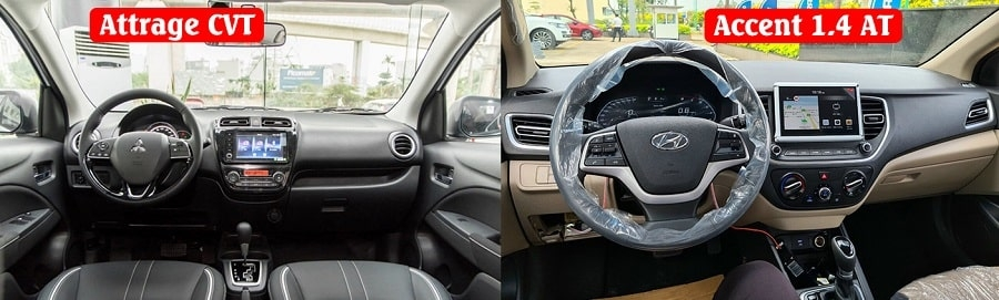 Đánh giá nội thất xe Attrage CVT bản premium và Hyundai Accent bản số tự động tiêu chuẩn