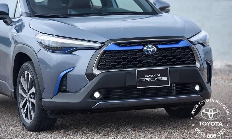 Đầu xe Toyota Corolla Cross 1.8HV Hybrid 2021 màu xám xanh