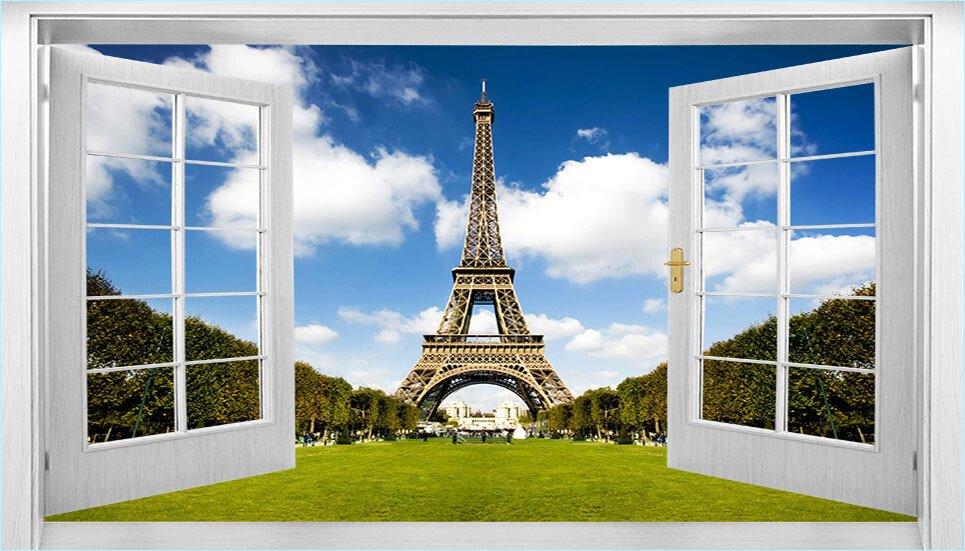 Tranh dán tường cửa sổ thành phố