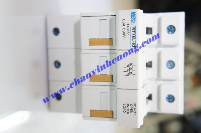 Đế cầu chì 14x51mm Miro RT18L-63 3 cực