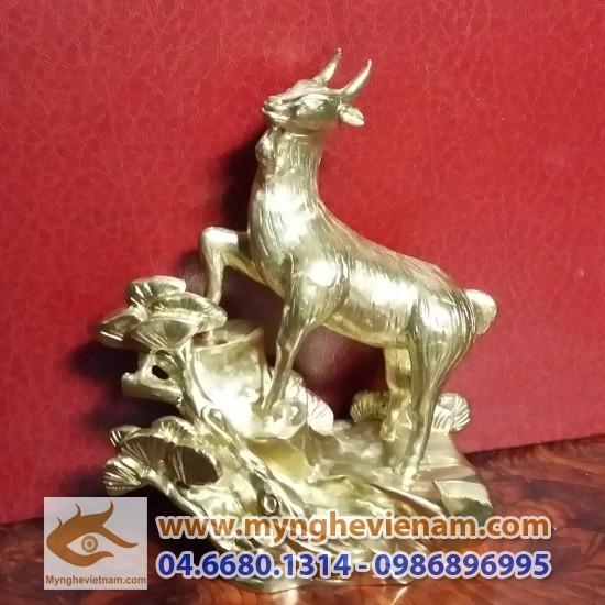 Tượng dê đồng 15cm, tượng phong thủy bằng đồng cao cấp