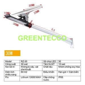 Đèn đường LED năng lượng mặt trời 30 wat cảm ứng hồng ngoại