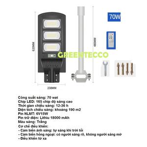 Đèn đường LED năng lượng mặt trời 70 wat cảm ứng hồng ngoại - tự sáng khi trời tối -điều khiển từ xa