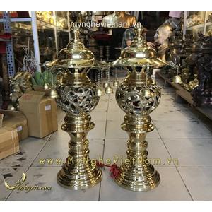 Đôi đèn long phượng bằng đồng cắm điện cao 50cm