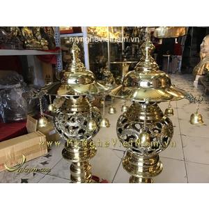 Đôi đèn thờ long phụng cắm điện cao 55cm