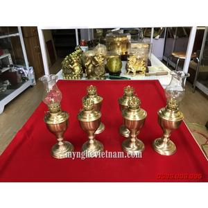 Đèn thờ bằng đồng bầu quả trám cao 20cm