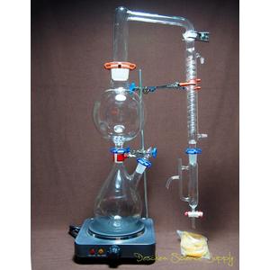 Deschem - Bộ dụng cụ chưng cất chiết xuất tinh dầu dạng đứng bằng hơi nước 2000 ml - thủy tinh