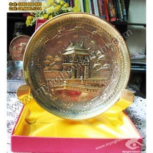 Đĩa chạm đồng Khuê Văn Các,đĩa quà tặng bằng đồng