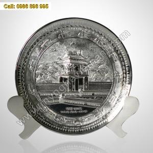 Đĩa chạm Khuê Văn Các,đĩa mạ bạc bằng đồng làm quà tặng