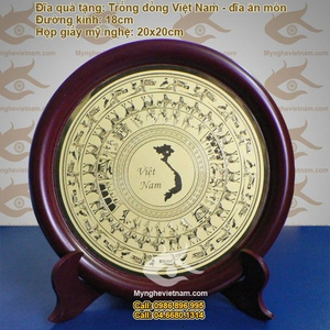 Đĩa đồng ăn mòn quà tặng, đĩa đồng lưu niệm cảnh Hà Nội Việt Nam
