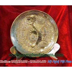 Đĩa đồng quà tặng bản đồ Việt Nam đk 22cm