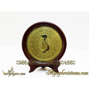 Đĩa đồng quà tặng lưu niệm mặt trống đồng có bản đồ Việt Nam đk 23cm