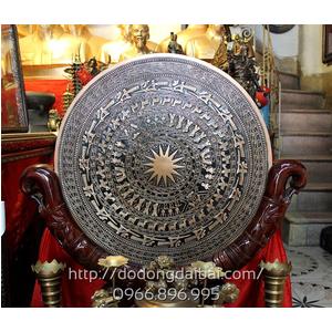 Mặt trống đồng đúc đồng đỏ đk 60cm có giá để
