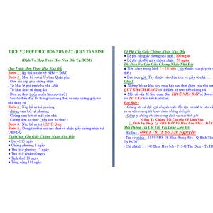 Dịch Vụ Hợp Thức Hoá Nhà Đất Quận Tân Bình