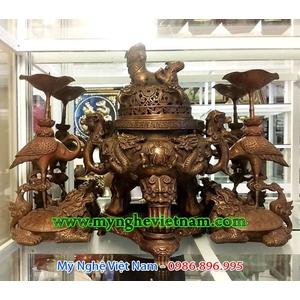 Đỉnh đồng thờ cúng rồng chầu nguyệt giả cổ 43cm