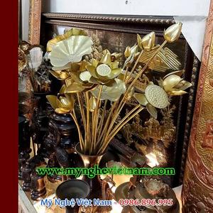 Hoa sen đồng gò thủ công đồng nguyên chất