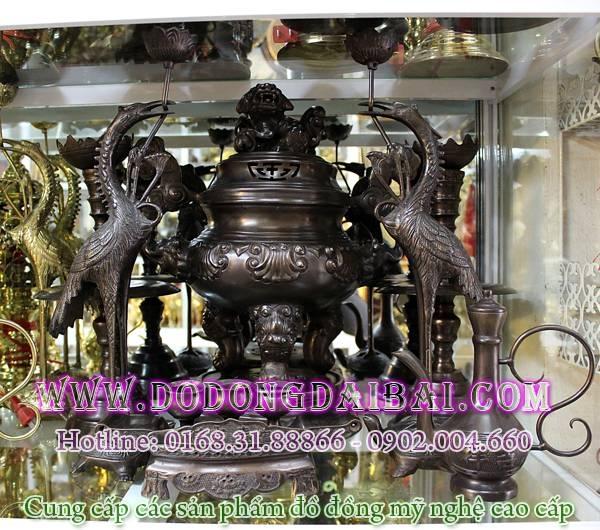 Đỉnh đồng đại bái song long chầu nguyệt cao 50cm, đỉnh đồng thờ cúng cao cấp tam sự dùng trên bàn thờ gia đình, thờ cúng gia tiên