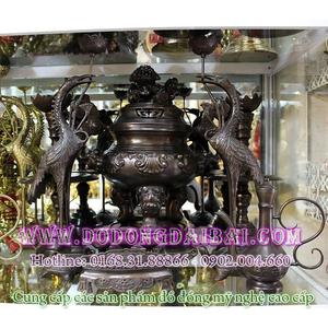 Bộ đỉnh thờ cúng hun đen giả cổ cao 43cm
