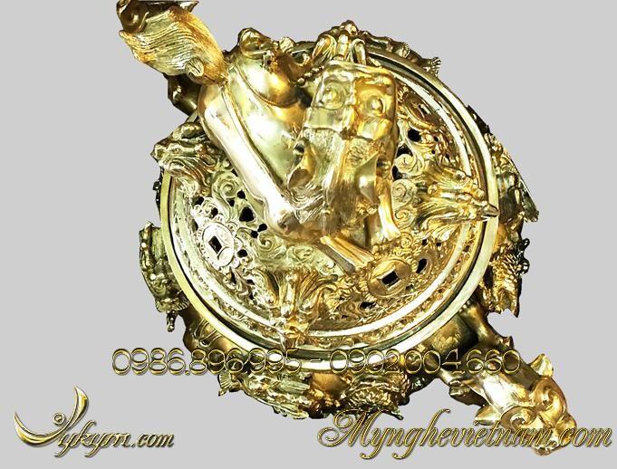 Đỉnh đồng song long chầu nguyệt cao 60cm vàng sáng