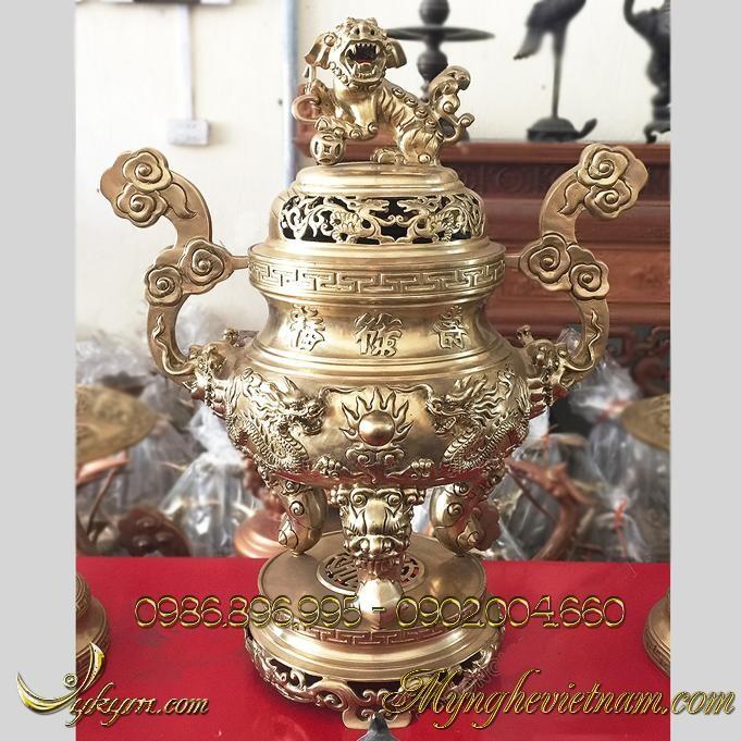 Lư hương song long chầu nguyệt màu hun mắt cua, lư đồng đỉnh đồng thờ cúng bàn thờ gia tiên, bày trí bàn thờ gia đình, hoa văn rồng chầu nguyệt cao cấp.