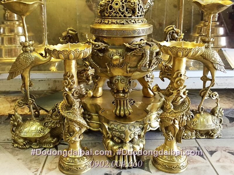 Bộ đỉnh thờ ngũ sự song long chầu nguyệt đúc nổi cao 36cm