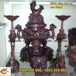 Đỉnh Đồng Song Long đúc nổi cao 36cm, đồ thờ cúng bằng đồng