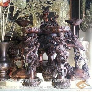 Đỉnh Đồng Song Long đúc nổi cao 60cm, đồ thờ cúng bằng đồng