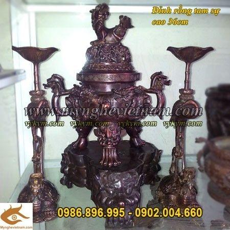 Đỉnh đồng song long đúc nổi, đồ thờ cúng bằng đồng cao 36cm