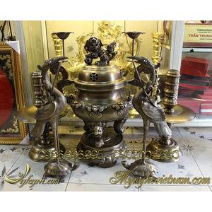 Đỉnh đồng thờ cúng dơi phúc phong thủy cao 60cm
