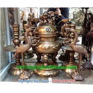 Đỉnh đồng thờ cúng hoa văn dơi phúc cao 50cm