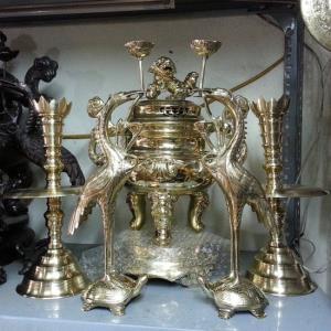 Đỉnh đồng thờ cúng ngũ sự vàng, cao 45cm