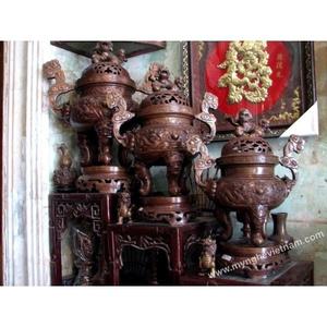 Đỉnh đồng thờ cúng song long chầu nguyệt 50cm